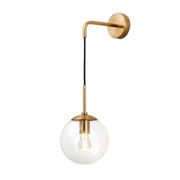 I-xun Applique murale boule de verre Lampes murales en laiton E27 Douille Goutte Abat-jour luminaire Veilleuse pour le salon, la chambre à coucher (Clair, 20cm)