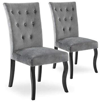 INTENSEDECO Lot de 2 chaises capitonnées Chaza Velours Gris