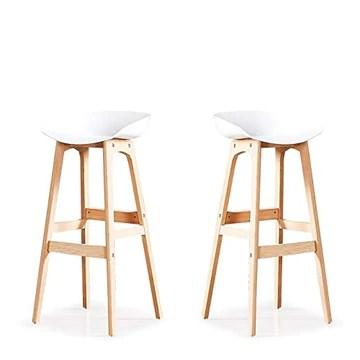Designetsamaison Lot de 2 chaises Hautes Blanche - Bera