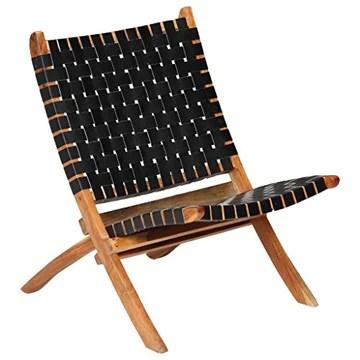 Festnight Chaises de Jardin en Bois Pliantes Chaise de Relaxation Pliable d'Extérieur en Cuir 59x72x79 cm Bandes Noir