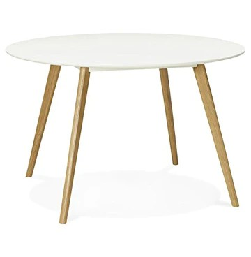 Alterego - Table de Cuisine Ronde 'Amy' Blanche Style scandinave - Ø 120 cm