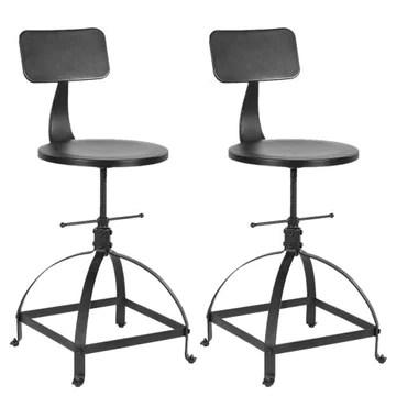 interougehome Lot de 2 chaises de Bar Noire de Style Industriel réglable en Hauteur, Tabouret de Bar en Bois - iKayaa