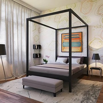 WEBER Industries Romance Lit baldaquin en Sapin Massif Noir 160 x 200 cm