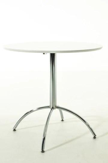 CLP Table de Bistro Ronde MARVILLE Ø 80 cm Hauteur de 75 cm Piètement en Métal Stable I Plateau de Table en Bois MDF I Table de Terrasse et Balcon Ronde Blanc