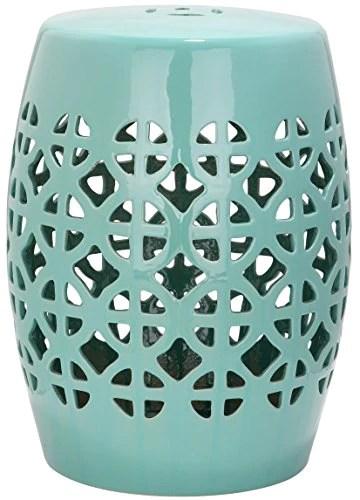 Safavieh EAC4508C Majorca Intérieur/Extérieur Tabouret de Jardin Céramique Turquoise Douce 33 x 33 x 46,99 cm