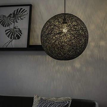QAZQA Design Lampe Suspension/Lustre/Luminaire/Lumiere/Éclairage grise - Corda 45 Bois/Acier Gris Rond/Globe E27 Max. 1 x 60 Watt/intérieur/Salon/Cuisine