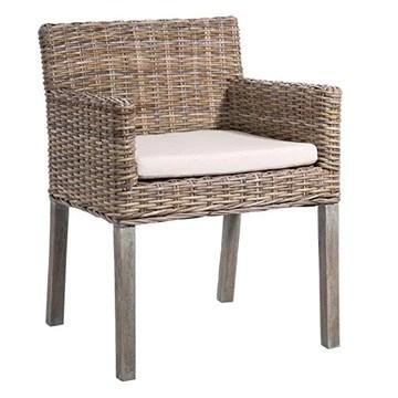 Générique Chaise avec accoudoirs en rotin et Coussin Beige Samuel - L 60 x l 60 x H 80