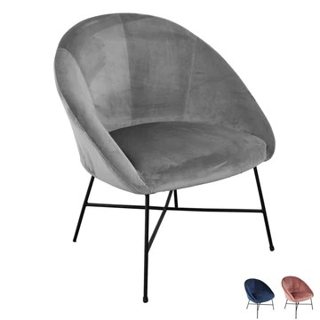 Nimara Fauteuil en velours | Fauteuil avec tissu en velours et accoudoirs | Fauteuil de salon avec confort et détente | Fauteuil de qualité en bleu, gris et rose