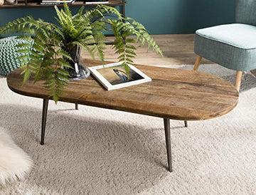 MACABANE Table Basse Ovale Teck recyclé et métal, 123 x 53 x 12