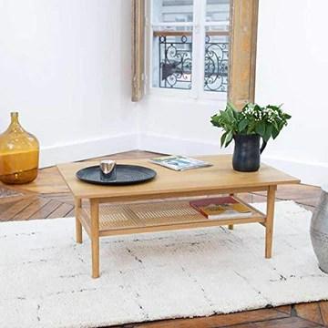 DECOCLICO Table plaqué chêne cannage en rotin