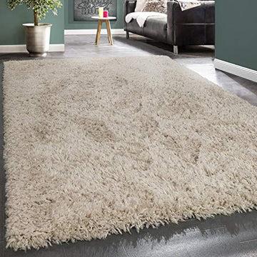 Paco Home Tapis Poils Hauts Moelleux Moderne Shaggy Style Flokati Confortable Uni Beige, Dimension:120x160 cm
