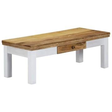 Tidyard Table Basse avec 1 Tiroir | Table Basse Rétro en Bois de Manguier Massif 110x50x40 cm
