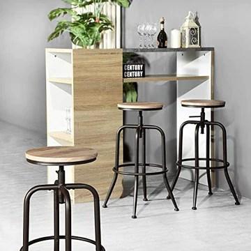 HOUSE IN BOX.COM Lot de 2 Rond Tabourets de Bar Chaise de Bar Taboure Pivotant Hauteur Réglable Rotatif à 360 Dégrées Siège Repose-Pieds Style Industriel pour Bar Comptoir Cuisine (Chêne)