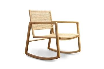 Rocking Chair en cannage Aksel - Bois Massif, Esthétique intemporelle, Produit 100% Bois, Bois de Rotin | Un Rocking Chair pour célébrer Le Retour du cannage - Beige (L59 x H44 x P64 cm)