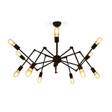 Fer Rétro araignée Plafonnier Industrie Vent Lustre Vintage créative lampes restaurant chambre décoration Couverture Noir Source de lumière réglable ampoule E27 (non incluse)