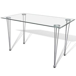 Anself 120 x 70 x 75cm Table en Verre avec Structure en Métal