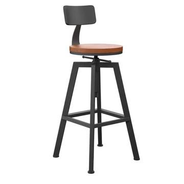 YF-Barstool Chaise de Bar Retro Industriel Retour Petit Déjeuner Cuisine Chaise Tabouret Rond en Bois Massif + Matériel De Fer Réglable 65-85CM