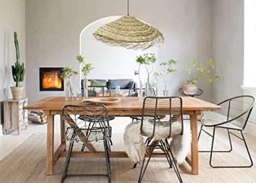 Suspension luminaire parasol en fibre de palmier, suspension doum marocaine, lampe forme parasol, lampe en rotin naturel