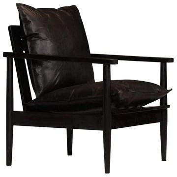 HomeMiYN Fauteuil en Cuir Véritable Confortable Résistant à l'usure avec Bois d'Acacia Durable 66 x 69 x 74cm Noir
