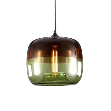 Moderne Nordique Art Déco Suspension Colorée en Verre Suspension Lampe Luminaires Led Clair Lanterne de Suspension en Plafond de Verre Pour Cuisine Restaurant Salon Chambre E27 / E26, D-B, vert
