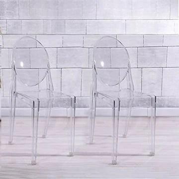 Anaelle Panana Lot de 2 Ghost Chaises en Acrylique Polycarbonate pour Salle à Manger, Salon, Capacité de Charge Max 150 KG