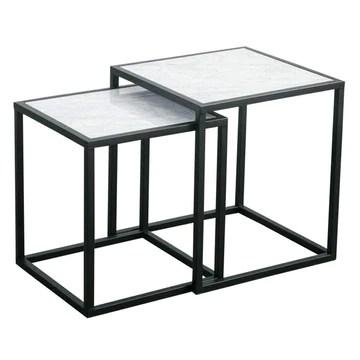 XWZJY Marbre Nordique Tables gigognes, Table Basse 2 pièces, Carré Table d'appoint empilable pour Le Salon Accueil, 40 x 40 x 45 cm + 45 x 45 x 50 cm