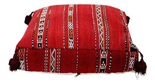Rouge Kilim marocain Pouf Housse de Pouf, Ottoman, Coussin de Sol