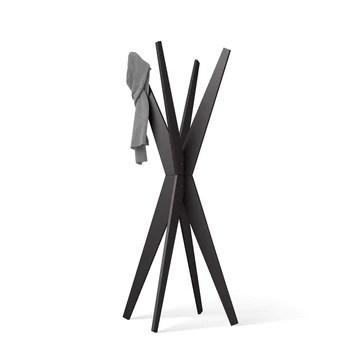 Mobili Fiver, Porte-Manteau sur Pied Design, Emma Frêne Noir, 80 x 80 x 170,5 cm, Made in Italy