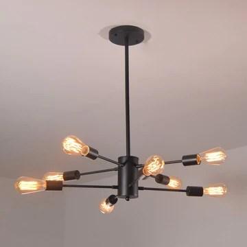 Dellemade Sputnik Lustre 8 lumières Vintage Suspension pour salle à manger, salon, cuisine, bureau, café, restaurant, noir