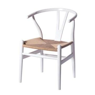 YUJINMAOYI Minimaliste Manger Chaise mobilier Salle à Manger Moderne Wishbone Chaise contem poraines chaises en Bois Massif,Blanc Naturel