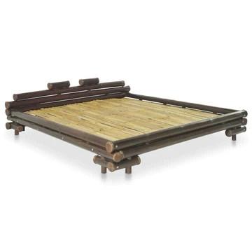 Festnight Lit en Bambou Lit en rotin Cadre de Lit 160 x 200 cm LIt sommier Lit pour Adulte lit Adultes 160 x 200 cm Marron foncé