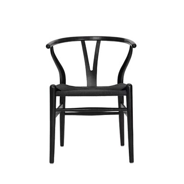 Wishbone Chaise Y en Bois Massif Chaise de Salle à Manger en rotin Naturel Beech-Black