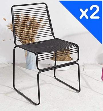 KOSMI.FR - Lot de 2 Chaises Noires Mates métal à barreaux Style Industriel FRIOUL