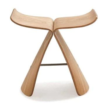 ZZFF Tabouret De Pied en Bois Plein,Stool Papillon Original Style Japonais Low Stool Japonais Changer Chaussures Stool Spa Chaise pour Bain Lit Salon Naturel 44x31x42cm(17x12x17inch)