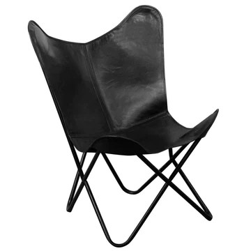 VidaXL Chaise de Relaxation en Cuir véritable avec Papillons Noir