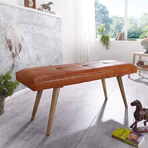 kadima design sali banc de jardin en cuir de chevre massif 117 x 51 x 38 cm style retro 2 banc rembourre couloir banc rembourre en cuir marron