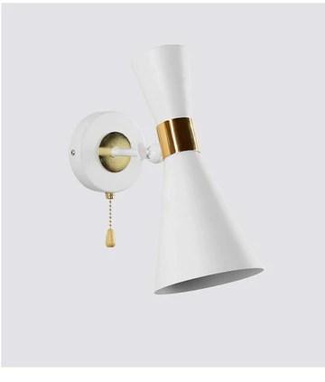 Salon moderne corne double lampe murale chambre créative restaurant allée hôtel balcon lampe de mur en fer forgé - blanc