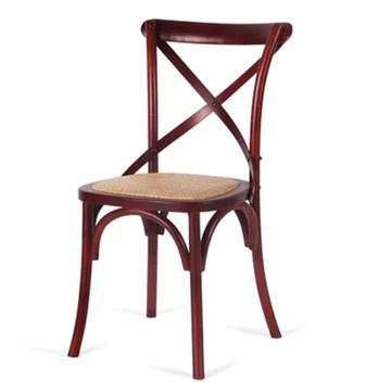 Chaise en Bois Massif, Chaise De Loisirs Moderne, Chaise De Retour en Fourche, Chaise De Mode Simple, Structure en Croix, Siège en Rotin Fixe, Siège De Bar, Restaurant