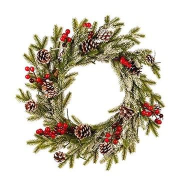 Guirlande De Noël,Couronne Décoration de Noël Couronne D'automne Guirlande de Noël Artificielles Fait à Main, Couronne de Fleurs Idéal Déco Noël pour Votre Porte, Mur ou Fenêtre