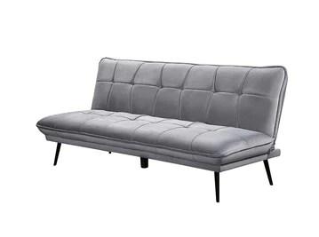 Loungitude Banquette convertible en velours gris perle et pieds métal noirs