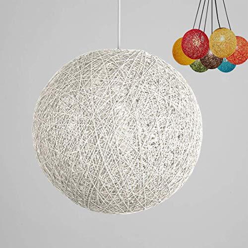 ✨Modern barre de personnalité treillis osier rotin Globe boule Style plafond pendentif lumière abat-jour créatif, café-restaurant, chambre, restaurant simple décoration éclairage (White, 30cm)