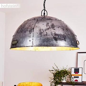 Suspension Svanfolk en métal gris effet rouille, lampe pendante rétro-industriel à hauteur variable, max. 121 cm, Ø 62, idéale dans un salon vintage, pour 1 ampoule E27 max 25 Watt, compatible LED