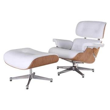 Générique Eames Chaise Lounge & Ottoman en frêne - Blanc Cuir & Base Blanc, Fauteuil Lounge TY308 avec siège à pédale Blanc