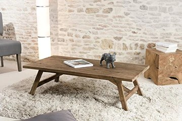 Macabane Table Basse Scandi, Teck, Brun, 120 x 60 x 36 cm