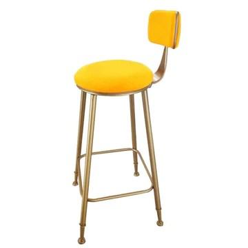 Mlzaq Tabouret de bar de luxe Tabouret de bar Comptoir de bar Hauteur métal/fer Terminer Pub/Restaurant/Accueil Cuisine - avec dossier et coussin de velours doux (Color : Yellow, Size : 65cm)
