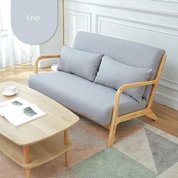 Lisansang Chaise Simple Moderne Tissu Doux Canapé en Bois avec accoudoirs réglables Bureau Salon 5 Couleurs (Color : Gray, Size : 120x78x75cm)