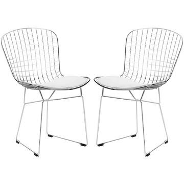 Chaise De Salle à Manger En Fer Moderne, Chaise Creuse, Fauteuil Décoration De Maison Moderne Avec Chaise En Café, (ensemble De 2),Blanc