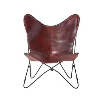 Homescapes Fauteuil Papillon en Cuir véritable Marron et métal, Chaise de Bureau Vintage, Fauteuil rétro, 88 x 77 cm