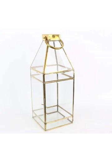 Lanterne géométrique Or Base carrée h. 46 cm.