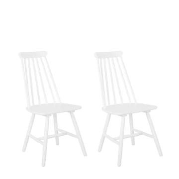 Beliani Lot de 2 chaises Blanches en Bois Burbank